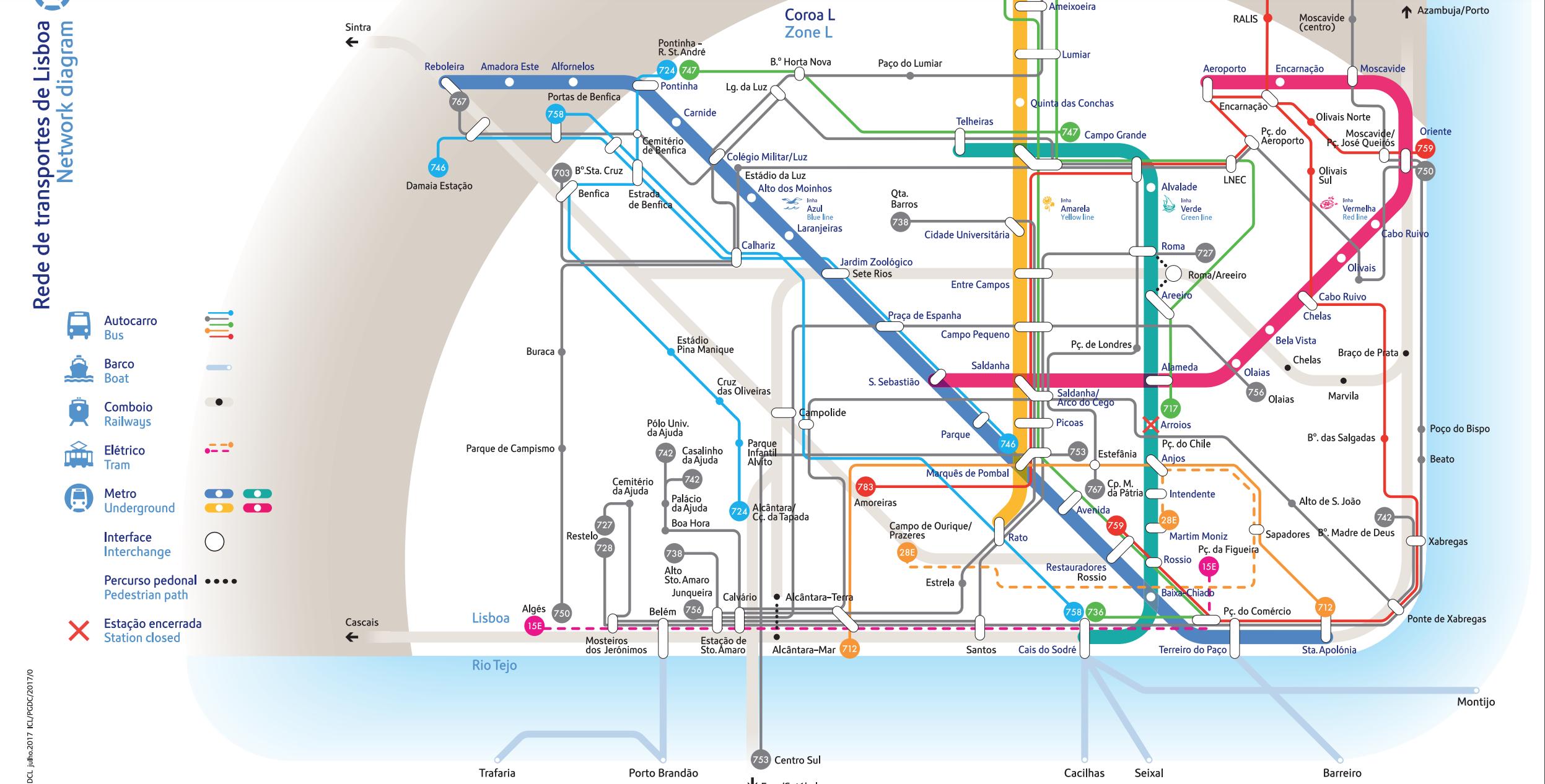 Карта транспорта Лиссабона