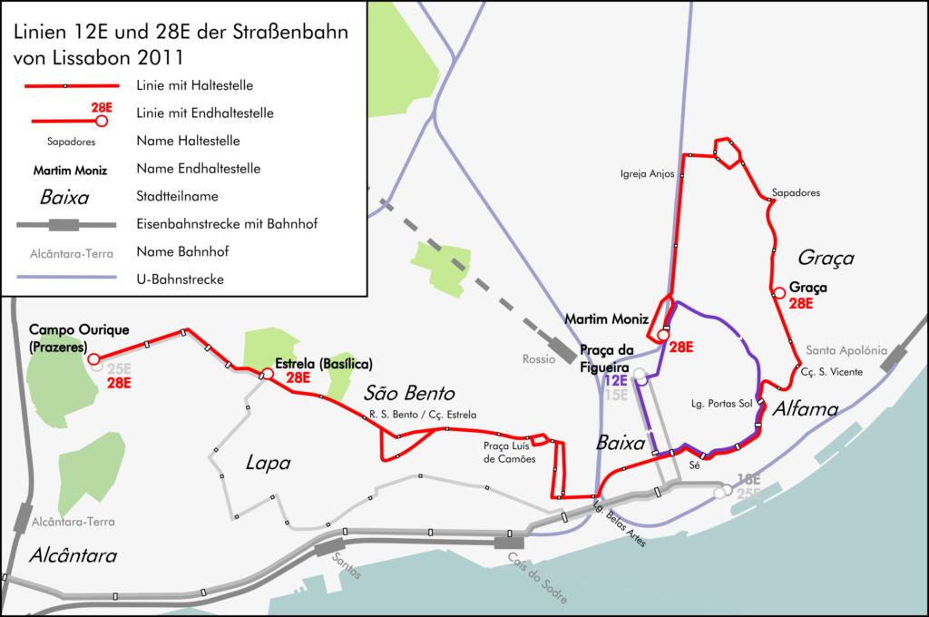 маршрут 28 трамвая в лиссабоне